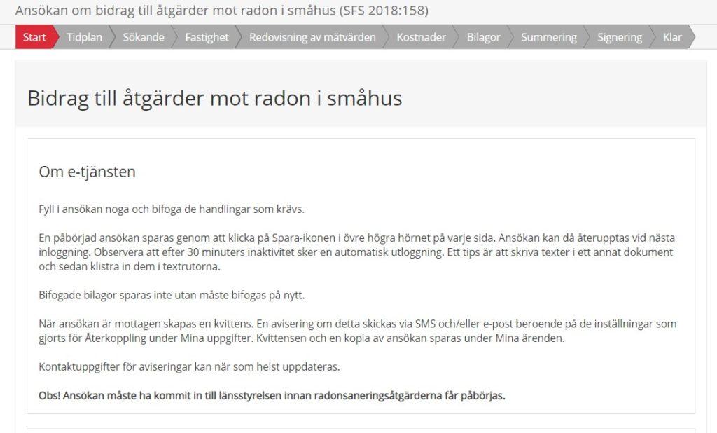 Skärmbild av radonbidragsansökan med Bank-ID.